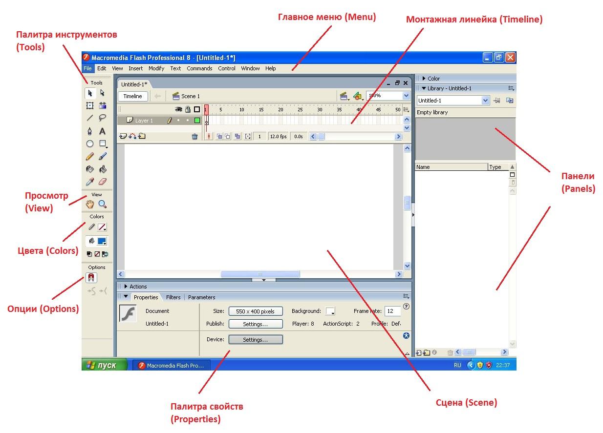 Знакомство с интерфейсом программы Macromedia Flash 8